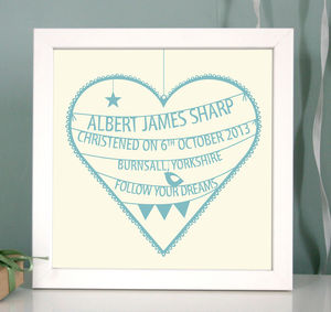 Personalised Christening Heart Print - personalised