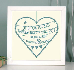 Personalised Christening Heart Print - children's pictures & prints