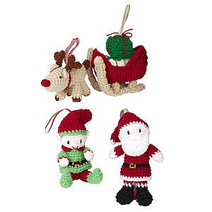 Hand Knitted Santa Scene - christmas sale