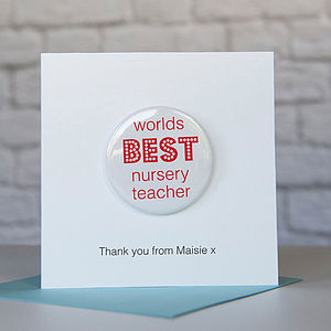 Personalised Worlds Best Nursery Badge Card - cards sent direct