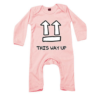 'This Way Up' Pink Babygrow