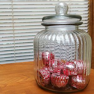 Ridged Glass Biscuit Storage Jar - jars
