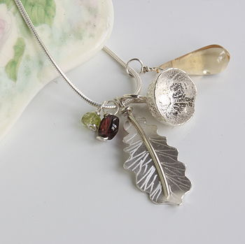 Handmade Silver Oak Leaf And Acorn Necklace