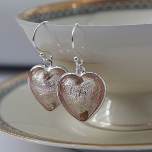Murano Glass And Silver Heart Earring