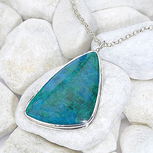 Chrysocolla Pendant In Sterling Silver - jewellery