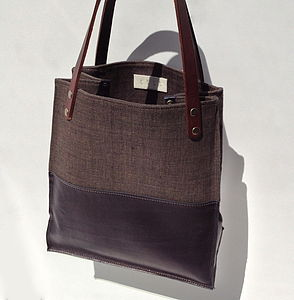 Handmade Leather And Canvas Wilton Tote