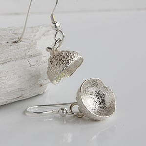 Silver Woodland Acorn Cup Earrings - earrings