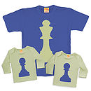 Matching T Shirt Set King / Pawn Chess Dad / Child
