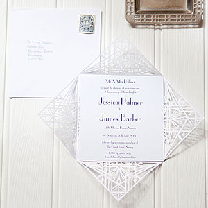 Deco Wrap Wedding Invitation - wedding stationery