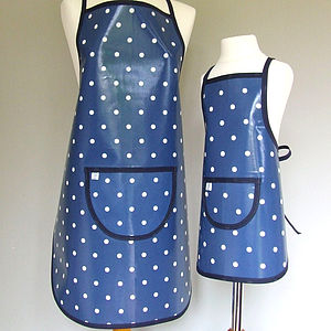 Navy Spotty Oilcloth Apron - aprons