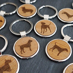 Wooden Dog Key Ring - men's accessories
