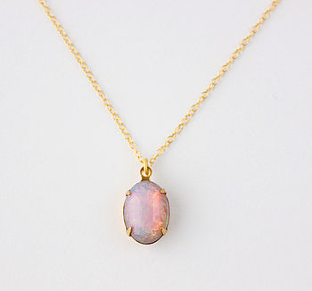 Fire Opal Glass Pendant Necklace