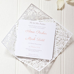 Floral Wrap Wedding Invitation - wedding stationery