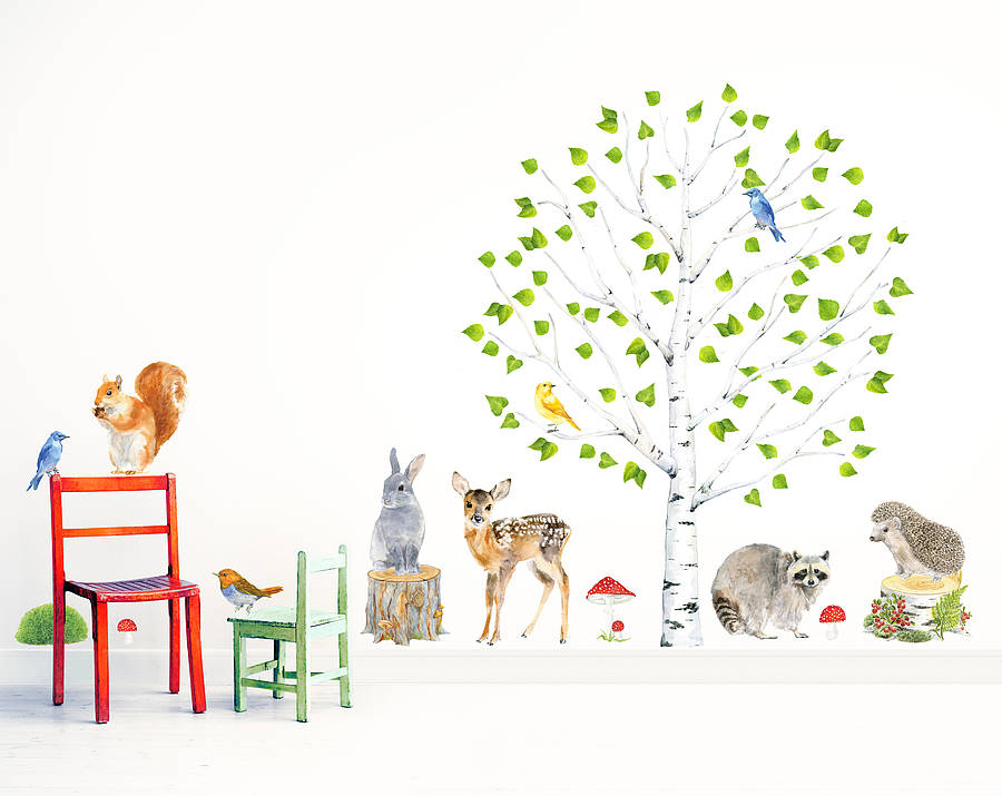 Woodland Nursery Wall Stickers, Animals And Tree Set