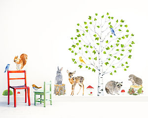 Birch Woodland Wall Stickers - children's room