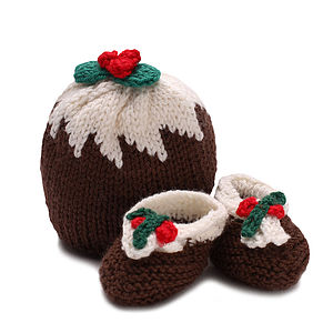 Christmas Pudding Hat And Booties Set