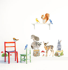 Forest Animals Wall Stickers, Woodland Animals Set - bedroom