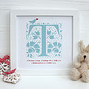 Personalised New Baby Framed Print Duck Egg Blue