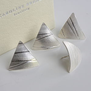 Handmade Silver Triangle Geometric Earrings - earrings