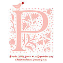 Personalised New Baby Initial Framed Print