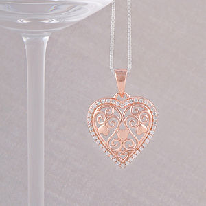 Rose Gold Filigree Heart Necklace - children's jewellery