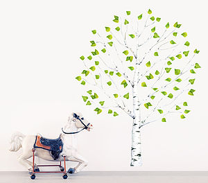 Tree Wall Sticker, Birch Tree With Leaves, Pvc Free - wall stickers
