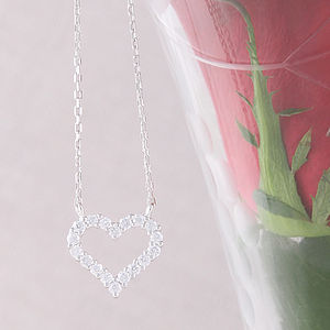 Cubic Zirconia Open Heart Necklace