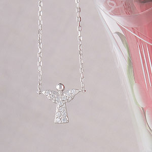 Cubic Zironia Pave Angel Necklace