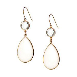 Adorn Me Earrings In White Agate And Gold