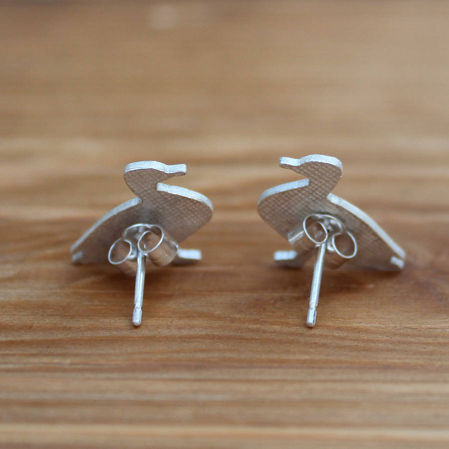 Silver Duck Earrings By Bryony Stanford Notonthehighstreet