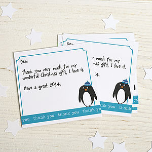 Pack Of Six Penguin Thank You Cards - thank you cards