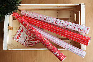 Christmas Threads Gift Wrap Set White