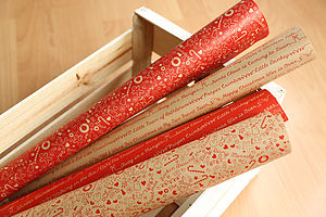 Christmas Threads Gift Wrap Set Kraft - wrapping