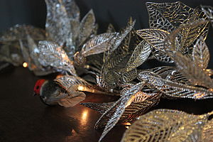 Silver Leaf Fairy Lights - winter sale