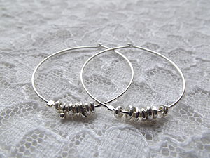 Silver Nugget Hoops - earrings