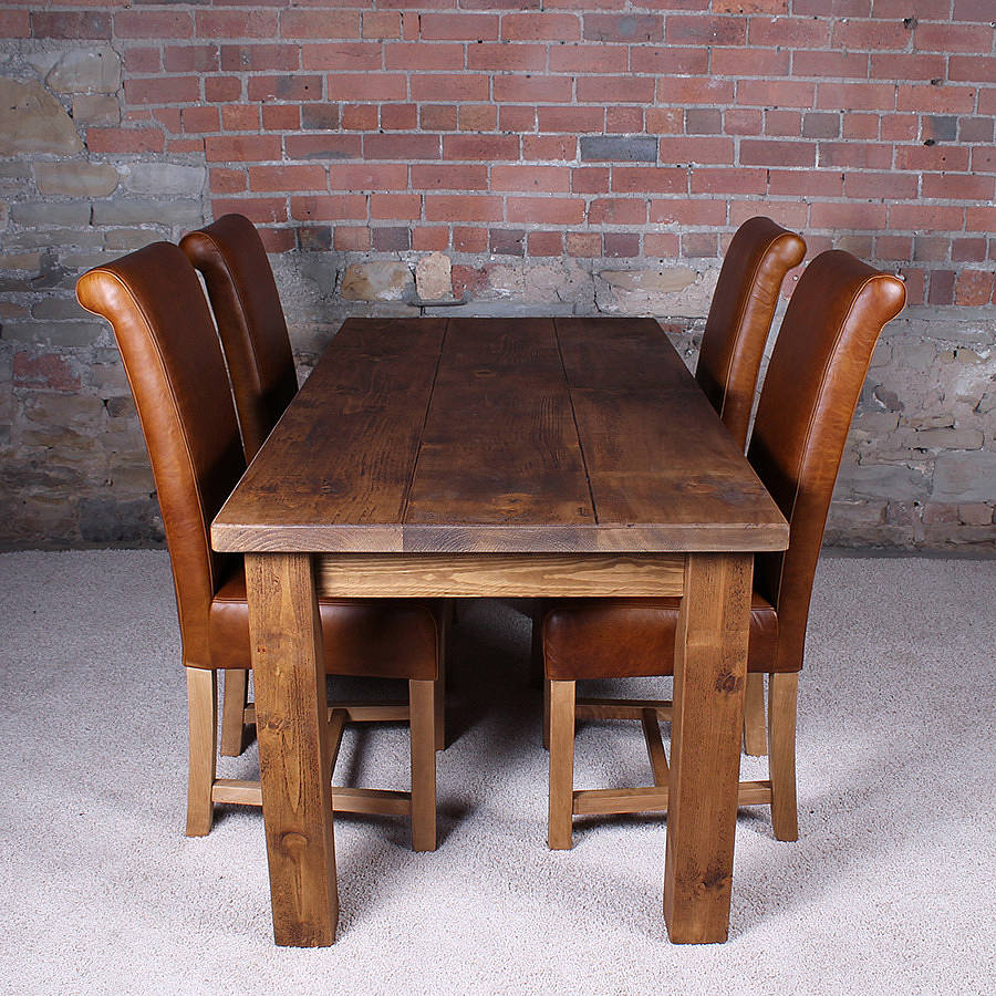 Solid wood dining table by h f for Solid oak dining table