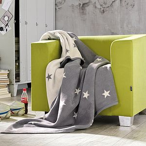Grey Stars Blanket - throws, blankets & fabric