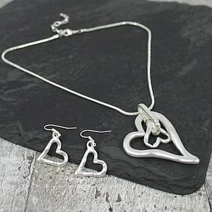 Pewter Heart Necklace And Earrings Set