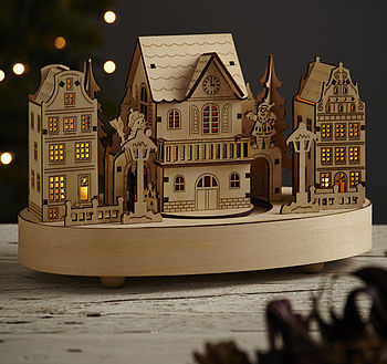 Wooden Christmas Musical House