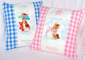 Pastel Beatrix Potter© Name And Date Cushion - cushions
