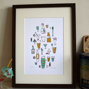 'Cocktails' Screen Print - prints for christmas