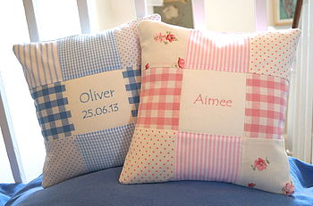Patchwork Nursery Name Cushion