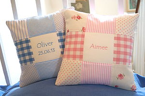 Patchwork Nursery Name Cushion - bedroom