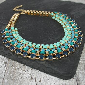 Gold Weave And Bead Bib Necklace