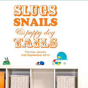 Slugs Snails And Puppy Dog Tails Wall Sticker