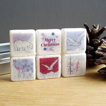 Arctic Christmas Marble Magnets