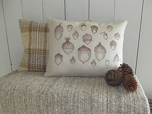 Acorn Cushion And Natural Throw Collection - throws, blankets & fabric