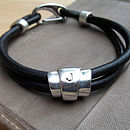 Personalised Deco Silver And Leather Bracelet