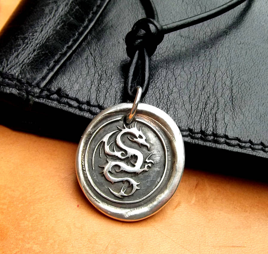 Silver wax seal dragon necklace by claire gerrard designs silver wax seal dragon necklace mozeypictures