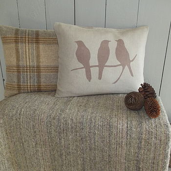 ' Bird On A Branch ' Cushion And Natural Throw